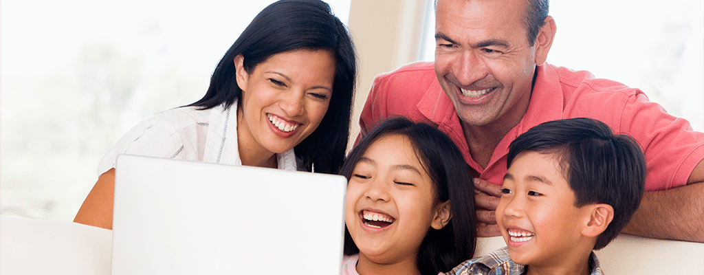 family enjoying homeschooling session