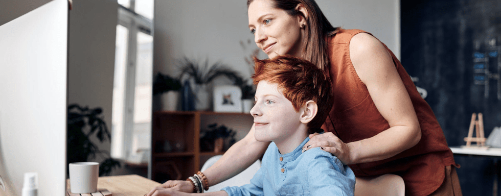 Mother helping to adjust the kids new normal